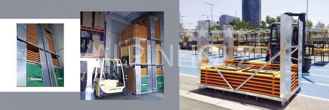 Contenedores de almacenaje y transporte para las mesas y bancos plegables de madera Alpinholz