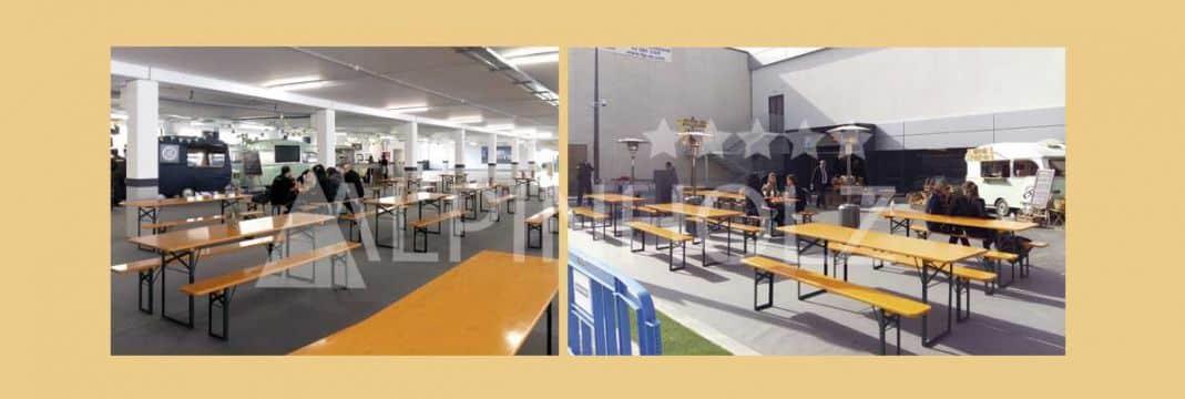 Mesas y bancos plegables para eventos de empresa de Alpinholz