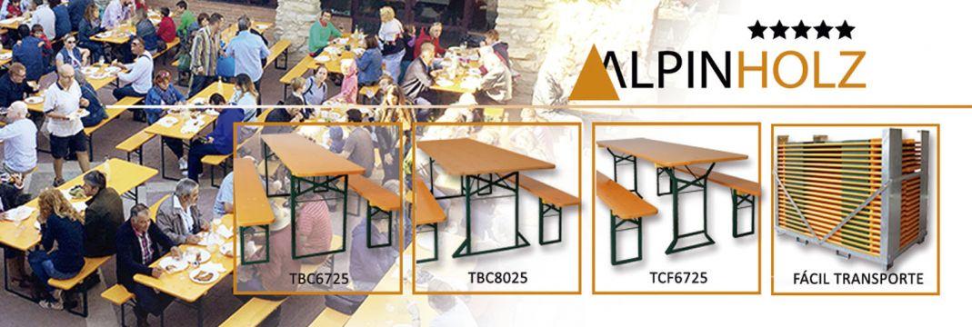 Mesas y bancos plegables de madera Alpinholz