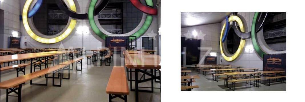 Mesas y bancos plegables de madera para eventos deportivos Alpinholz