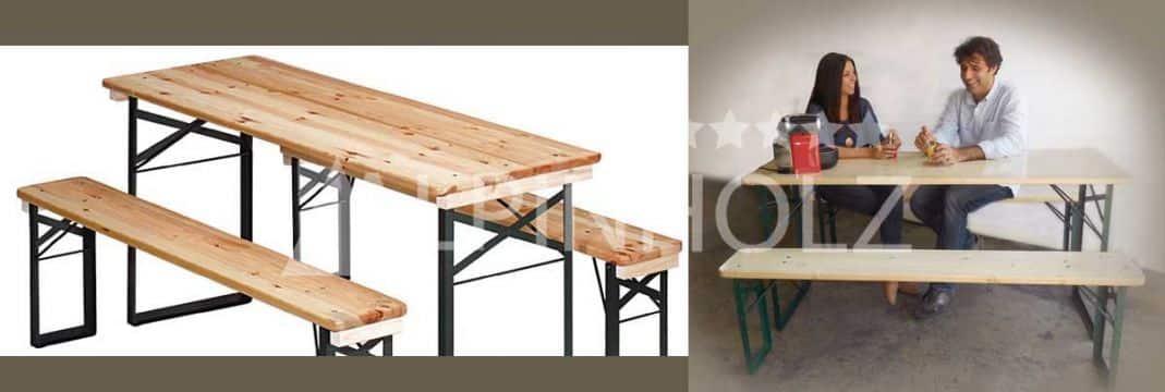 Mesas y bancos plegables de madera, modelo Miniline de Alpinholz