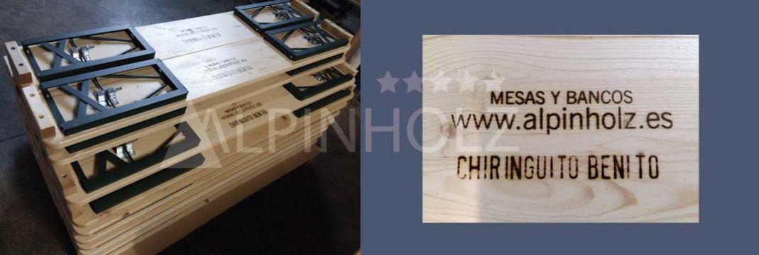 Marcaje a fuego de las mesas y bancos plegables de Alpinholz