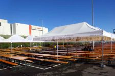 Mesas plegables de madera para eventos deportivos, alquiler de mesas cerveceras