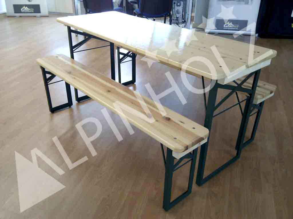 Mesas y bancos plegables de madera Miniline de Alpinholz