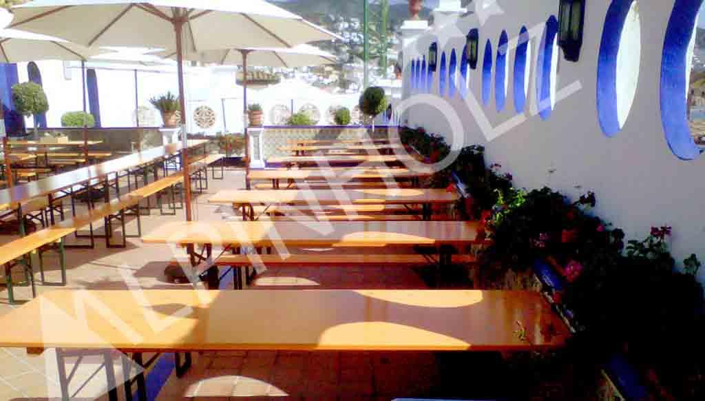 Mesas y bancos plegables de Alpinholz, mesas cerveceras de las Oktoberfest