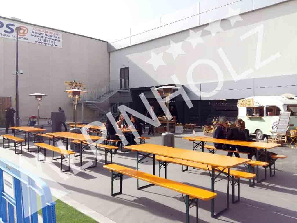 Mesas cerveceras de Alpinholz, mesas y bancos plegables de madera