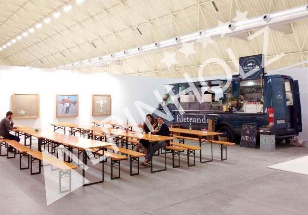 Mesas y bancos plegables de madera de Alpinholz, las mesas cerveceras alemanas