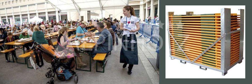Contenedores de transporte para las mesas y bancos plegables Alpinholz