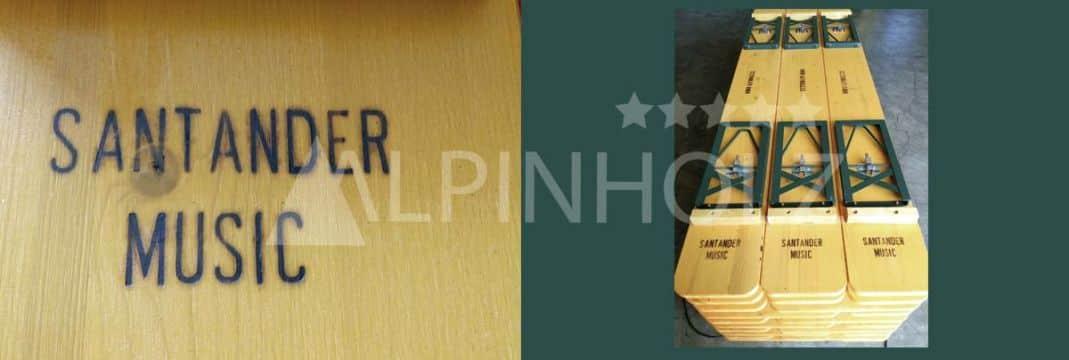 Bancos plegables de madera de Alpinholz marcados a fuego