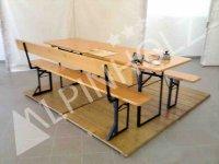 Bancos plegables de madera con respaldo, fabricantes europeos de mesas y bancos plegables