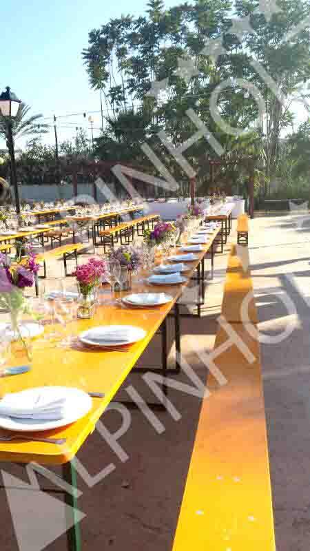 Alquiler mesas Alicante, mesas plegables de madera alemanas