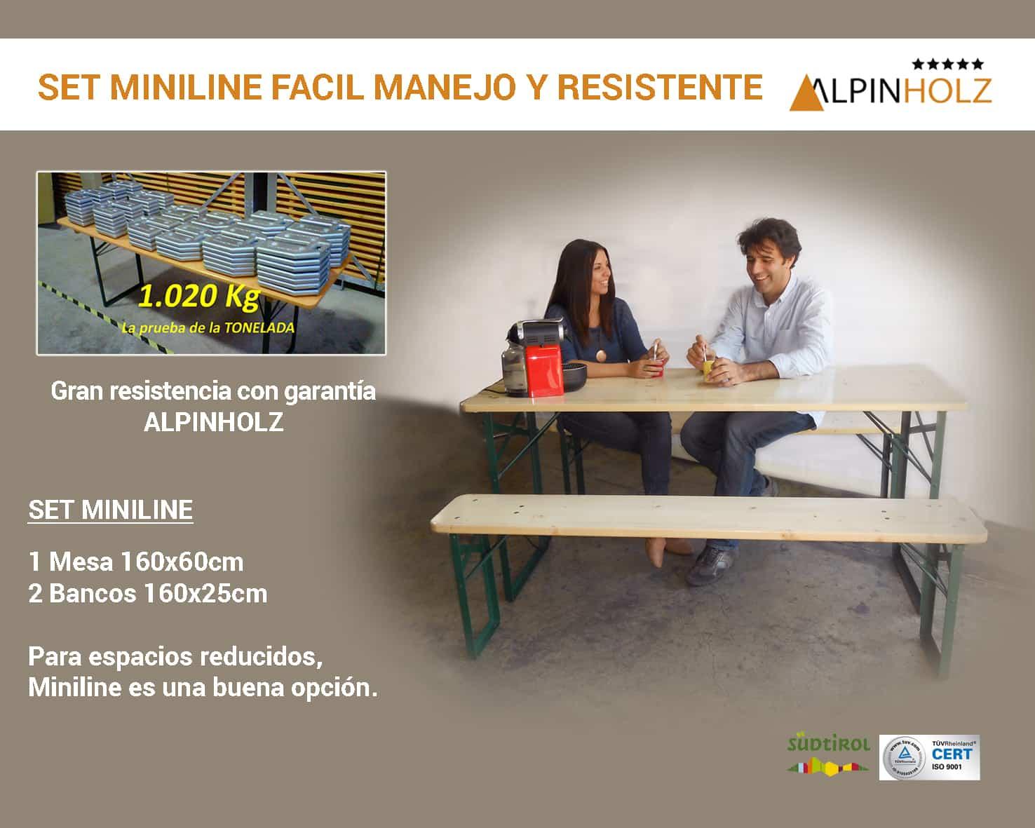 mesas y bancos miniline