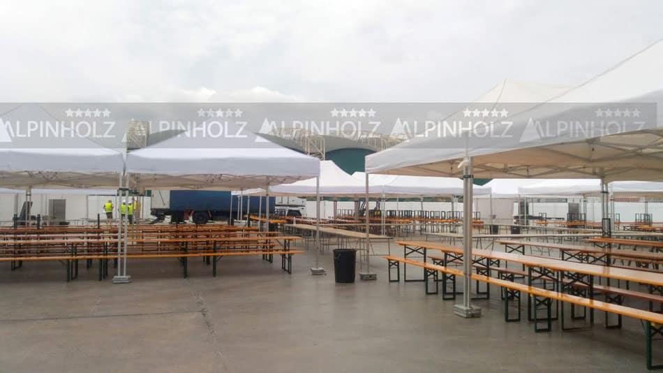 Carpas de montaje modular para protección de mesas y bancos plegables