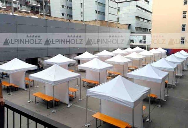 Carpas 3x3 Qualytent y mesas Alpinholz
